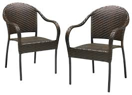 Patio Stack Chairs Rancho Outdoor Browngray Wicker Stackable Chairs Set Of 2 Stacking