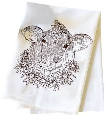 milk cow cotton flour sack dish towel farmhouse dish towels