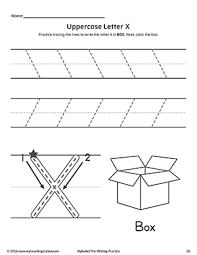 uppercase letter x pre writing practice worksheet
