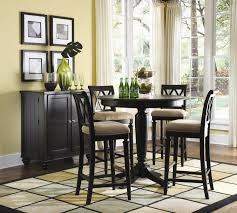 5 piece counter height dining set brown textured wood cabinet