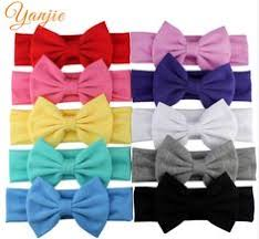 infantile solid cotton bow headband for kids 2017 elastic