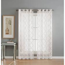 216 Inch Curtains Window Elements Sheer Lattice Cotton Blend Burnout Sheer 84 In L