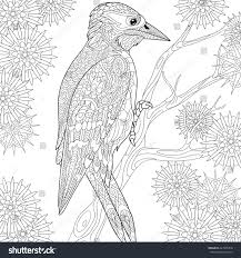 zentangle stylized cartoon woodpecker on tree stock vector