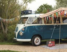 volkswagen camper pink note bring decorative flags next camping trip and a really cool