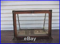 Antique Brass Display Cabinet Wood Glass Brass Display Case Cabinet Showcase Jewelry Old Vintage