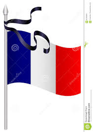 French Flag Banner French Flag With Black Mourning Ribbon Stock Vector Illustration