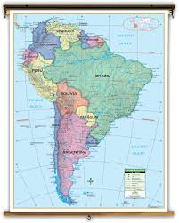 South America Map Capitals by Primary South America Political Classroom Map On Spring Roller