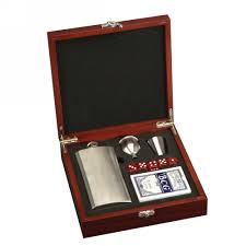 Personalized Desk Accessories Flask And Card Set In Rosewood Box