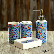 mosaic bathroom accessories prices 4 pcs set fashion mosaics
