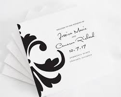 wedding program card stock damask accent tri fold wedding programs deposit in black and white
