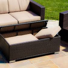 wicker patio storage amazon com westlake brown wicker 4pc outdoor sofa set patio