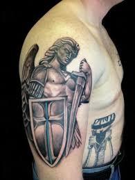 Patriotic Flag Tattoos Beautiful Archangel Michael In Armor Tattoo On Half Sleeve