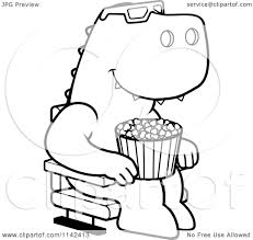 cartoon clipart of a black and white t rex eating popcorn and