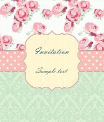 wedding invitation card with vintage ornaments and roses shabby