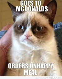 Happy Meal Meme - funny grumpy cat orders un happy meal at mcdonalds pictures lol