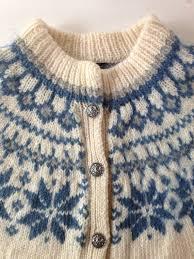 vintage scandinavian dale of norway wool sweater cardigan blue