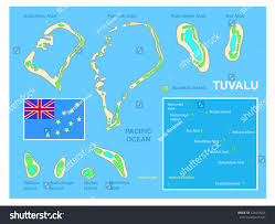 Map Of Pacific Islands Tuvalu Map Flag Bright Colorful Map Stock Vector 124419256