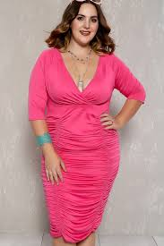 fuchsia ruched plunging neckline plus size party dress