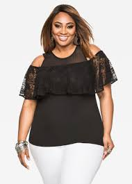 cold shoulder top buy lace ruffle cold shoulder top black clearance