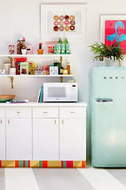 kitchen style luxurious white retro kitchen floor ideas with luxurious white retro kitchen floor ideas with white open shelves cabinets mint refrigerator colorfull retro wall decoration