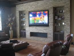 Living Room Design Tv Fireplace Mounted Tv With Soundbar And Fireplace Google Search