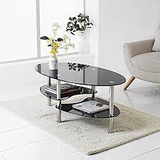 modern black end table neotechs modern black glass chrome oval living room coffee table