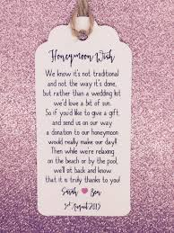 wedding gift honeymoon fund personalised wedding honeymoon money request poem card gift tag