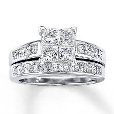princess cut wedding set jared diamond bridal set 2 1 2 ct tw princess cut 14k white gold