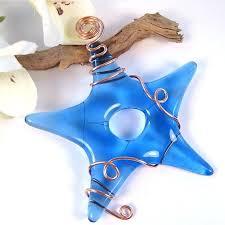 light blue fused glass ornament blue glass