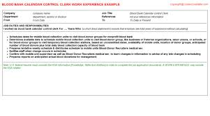 blood bank calendar control clerk job title docs