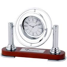 anniversary clocks engraved spinning silver metal chrome clock wooden base silver