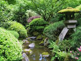 lovely small japanese garden design with creek and stone decor