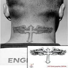 temporary tattoos neck back cross wings makeup spray