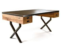 steel and wood table steel and reclaimed wood walter desk by richard velloso