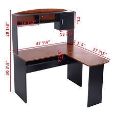 Study Table L   amazon com goplus corner l shaped ergonomic study table hutch