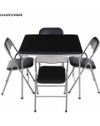 amazing deal on ikayaa 5pcs metal folding kitchen dining table
