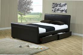 Black Leather Sleigh Bed Leather Sleigh Beds With Storage Drawers Drawer Design