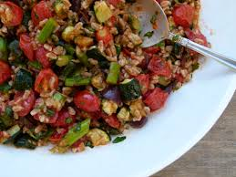 Ina Garten Roasted Vegetables by Farro With Roasted Vegetables And Roasted Tomato Dressing Recipe