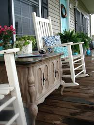 indoor furniture brought outside create storage and familiarity