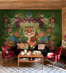 delightful nature bedroom wallpaper design showing mountain lake
