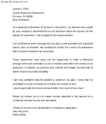 professional journalism cover letter sample templates
