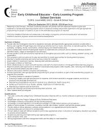 sle resume exles early childhood education resume sle career sletif exles