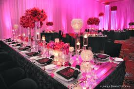 purple birthday candles reception table daccor