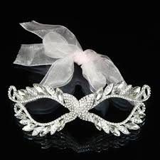 rhinestone masquerade masks european white ribbon rhinestone women masquerade mask at