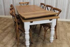 EXTENDING FARMHOUSE TABLE WITH AN OAK TOP AND A PAINTED BASE RUSTIC - Extendable kitchen tables
