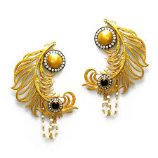 peacock design earrings in gold gold plated peacock feather new fashion designs earrings at rs 500