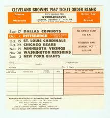 vintage nfl cleveland browns 1967 ticket order blank unused