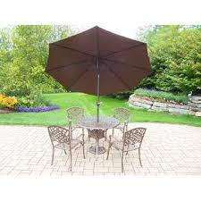 Patio Dining Sets With Umbrella Oakland Living Cast Aluminum 7 Pc Patio Dining Set W Table