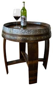 Rustic Side Table Banded Wine Barrel Side Table With Cross Braces 24