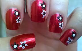 life world women dark red floral nail art by using toothpick